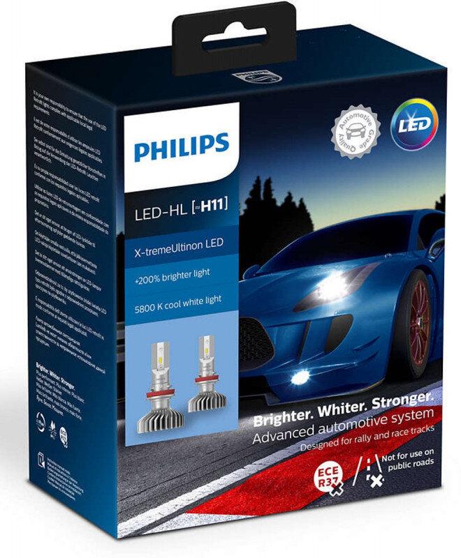Philips X-treme Ultinon H11 LED +200% mere lys (2 stk.) Philips X-Treme Ultinon LED +200% / +250%