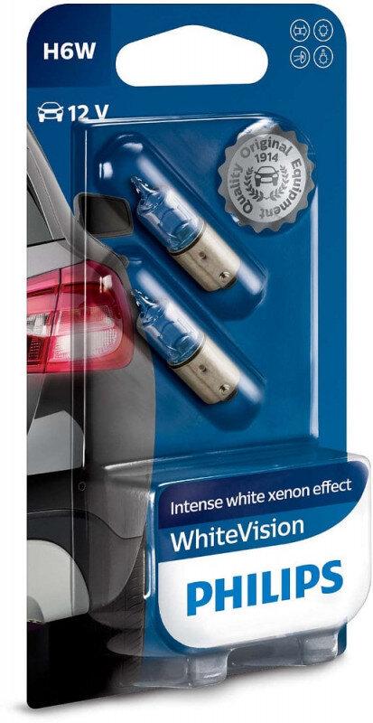 Philips White Vision H6W pærer med Xenon effekt & +60% mere lys (2 stk) Philips White Vision +60% mere lys