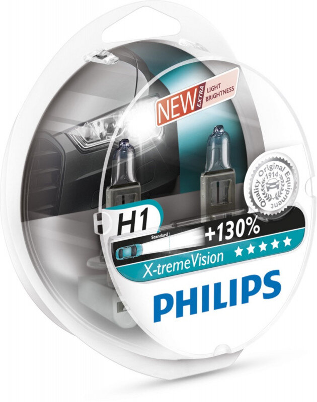 Philips H1 Xtreme Vision pærer +130% mere lys ( 2 stk) Philips Xtreme Vision +130%