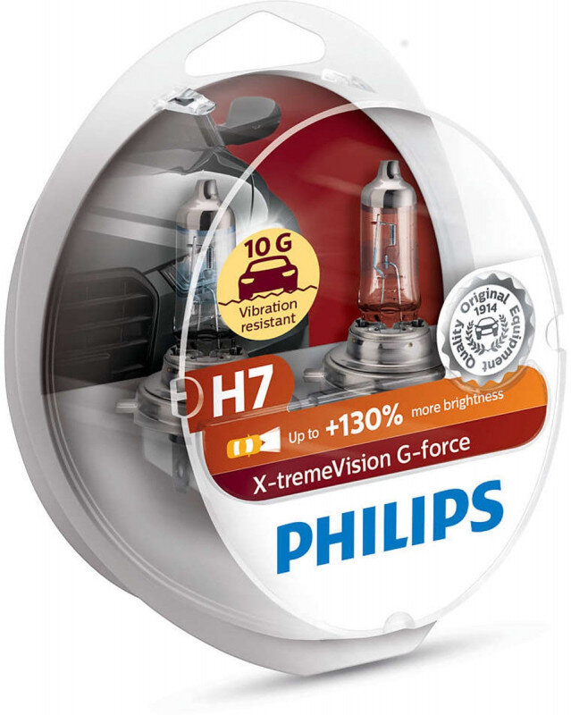 Philips H7 X-tremeVision G-force pærer +130% mere lys ( 2 stk) Philips Xtreme Vision G-force +130%