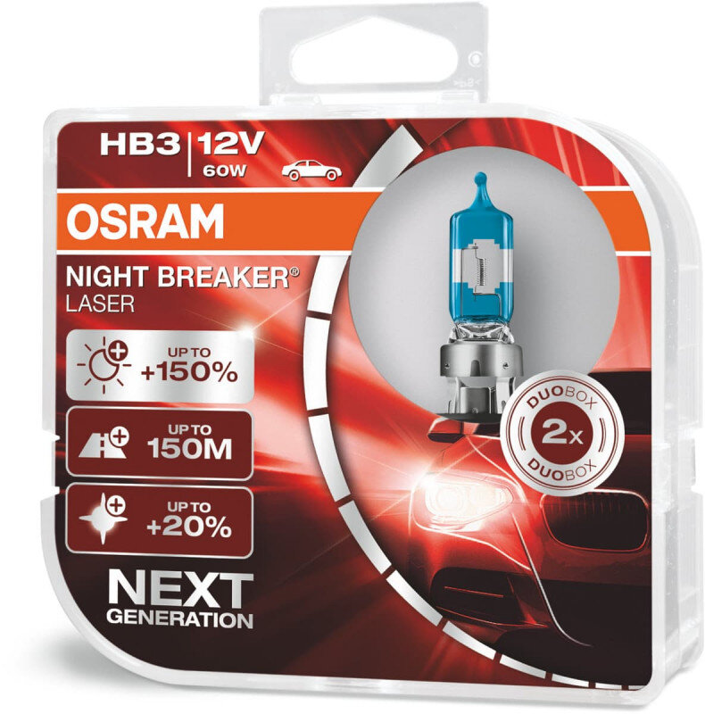 Osram Night Breaker Laser HB3 pærer +150% mere lys (2 stk) pakke Osram Night Breaker Laser +150%