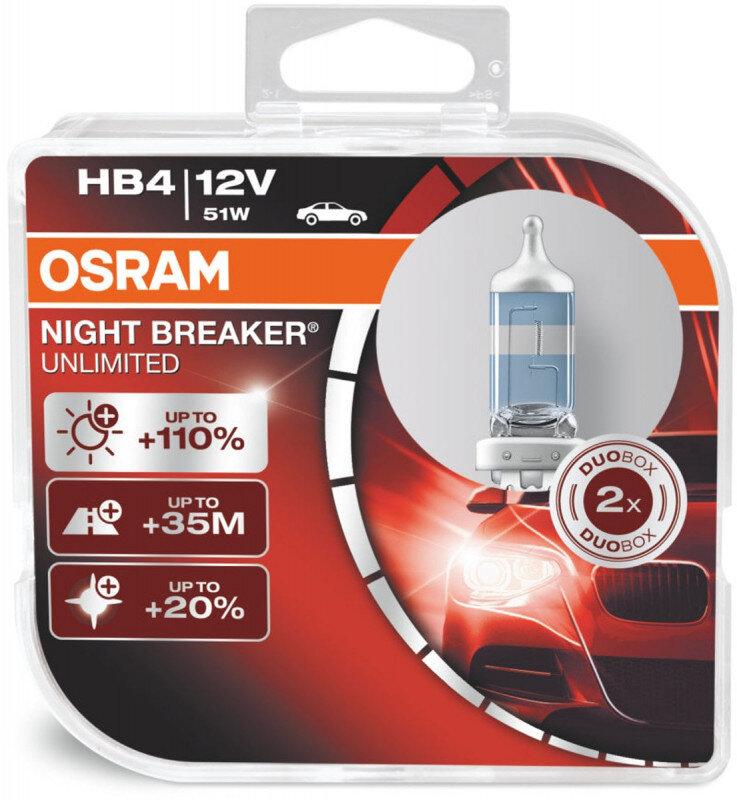 Osram Night Breaker Unlimited HB4 pærer +110% mere lys (2 stk) pakke Osram Night Breaker Unlimited +110%