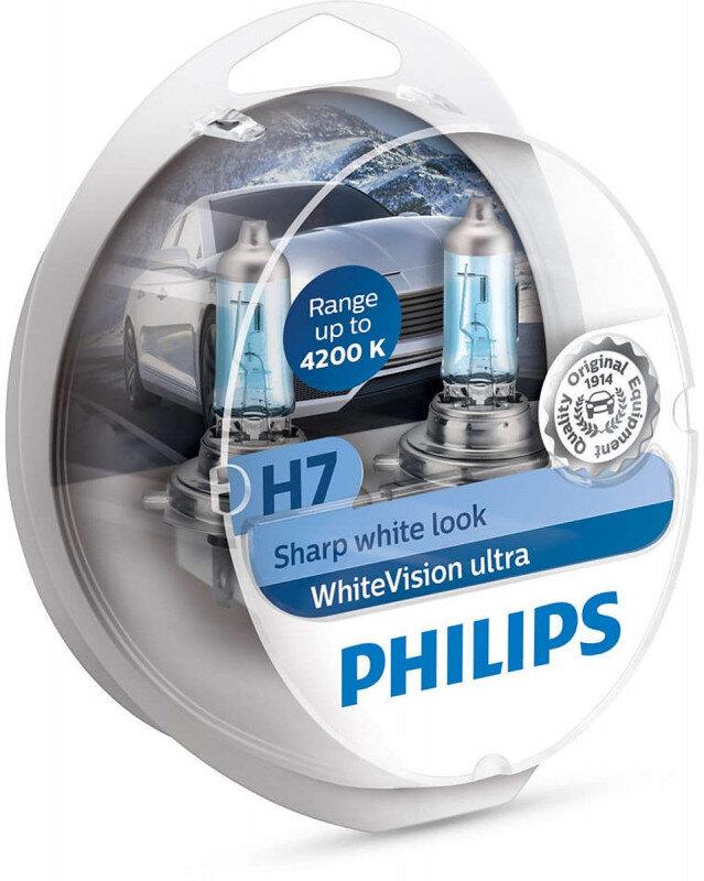 Philips WhiteVision Ultra H7 pærer 2 stk. Kit +60% mere lys | hvidt lys (op til 4200K) Philips WhiteVision Ultra +60% mere lys