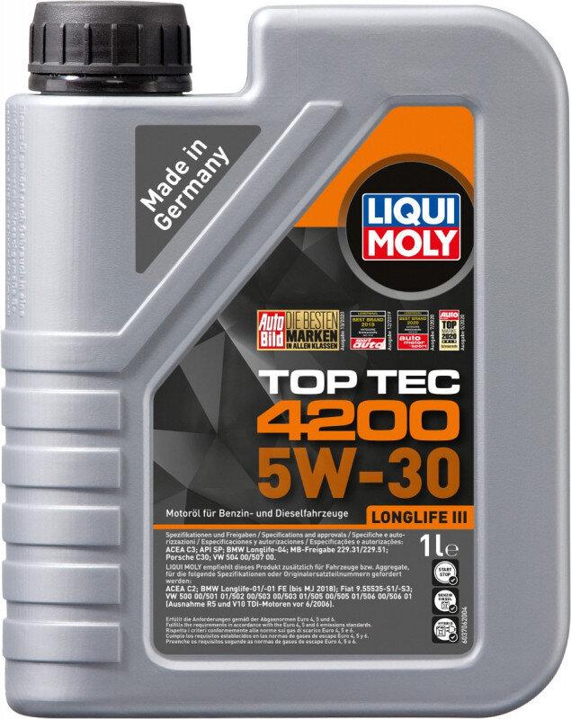 Top tec 4200 Liqui moly 5W30 Motorolie i 1 liters dunk Top tec motorolie fra Liqui Moly