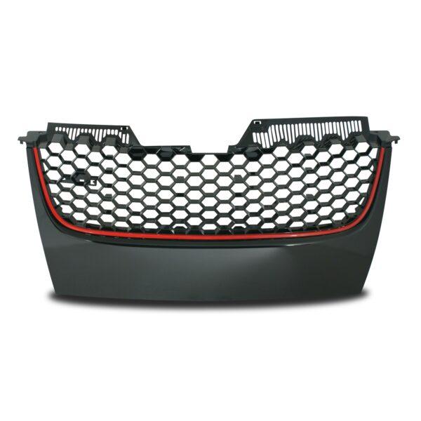 JOM Frontgrill GTI look med honey comb gitter i sort med rød liste til VW Golf 5 Styling
