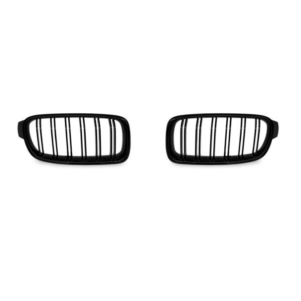 JOM Frontgrill med dobbelt ribbe i blank sort til BMW serie 3 F30/F31 årgang 2011-2015 Styling